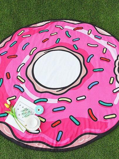 Serviette De Plage ronde Donut Pizza Microfibre Serviette Fraise Pastèque Serviette De Bain pour Adultes Tapis Serviette De Plage