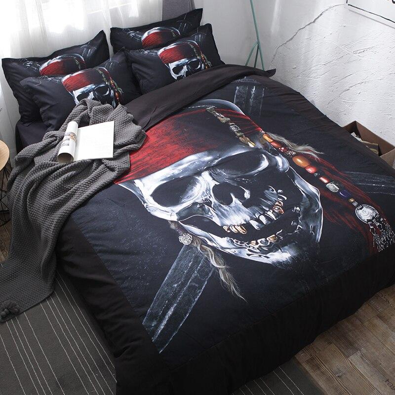 3d Pirate Fashion Trend Bedding Sets Black Bedclothes Soft Duvet Cover Quilt Cover Pillow Cases Comfortable BeddingOutlet