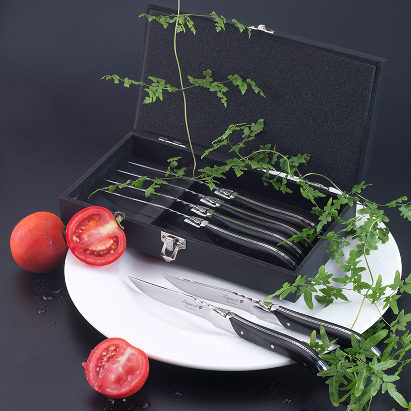6pc Laguiole Style Flatware set Steak Knives Forks Black Wood handle Dinnerware in Wood Box Restaurant
