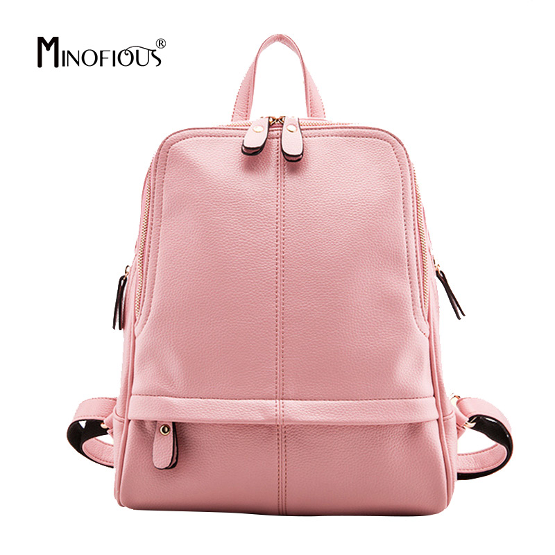 MINOFIOUS PU Leather Womens Zipper Backpack New Solid School Bag for Teenager Girls Women Fashion Casual College Backpacks MINOFIOUS PU Leather Womens Zipper Backpack New Solid School Bag for Teenager Girls Women Fashion Casual College Backpacks