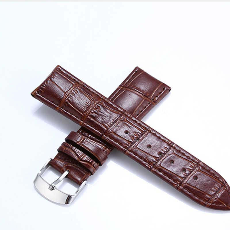البني جلد طبيعي Watchbands 22 مللي متر للماء جلد العجل 16 مللي متر 18 مللي متر ووتش الأشرطة الفضة سوار بأبزيم الأسود 20 مللي متر حزام (استيك) ساعة