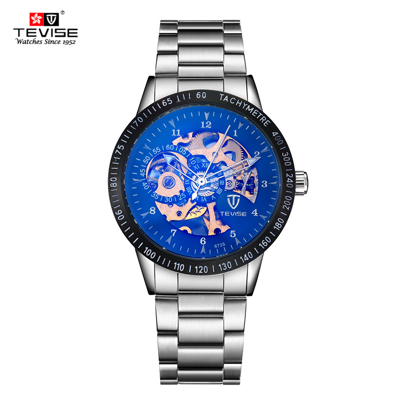 TEVISE Mechanical Men Watch Stainless Steel Strap Automatic Self-Wind Wristwatches Skeleton Fashion Casual Clock TVS25 tevise mechanical automatic self wind men watch stainless steel auto date day man business fashion wristwatches clock 619