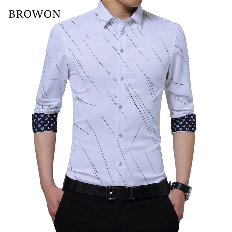 Browon nova chegada mais tamanho dos homens camisas formais impressão meteoro manga comprida blusa camisas para homem m-5xl camisa importada