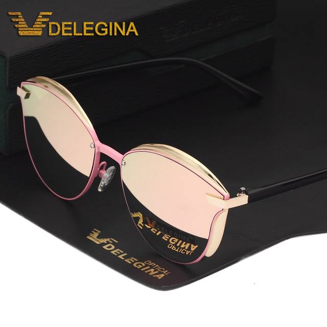 Fashion Female Polarized Sunglasses Women Cat Eye Glases Ladies Sun Glasses Mirror With box oculos de sol BW1935