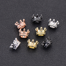 Pipitree 5pcs/lot Wholesale Black CZ Crown Beads for Jewelry Making DIY Copper Spacer Beads fit Bracelet Jewelry Accessories