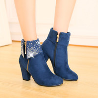 Autumn Winter Women Short Boots High Heels Shoes Thick Rivet Platform Boot Ladies Martin Boots Small Big Size 32 46 Ankle Boots