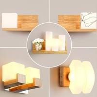 Lámpara de pared de cama nórdica moderna  minimalista  de madera maciza  para dormitorio  sala de estar  pasillo  balcón  Lámpara decorativa creativa JQ