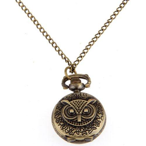 YCYS-Pocket watch vintage owl pendant necklace 27mm old antique bronze doctor who theme quartz pendant pocket watch with chain necklace free shipping