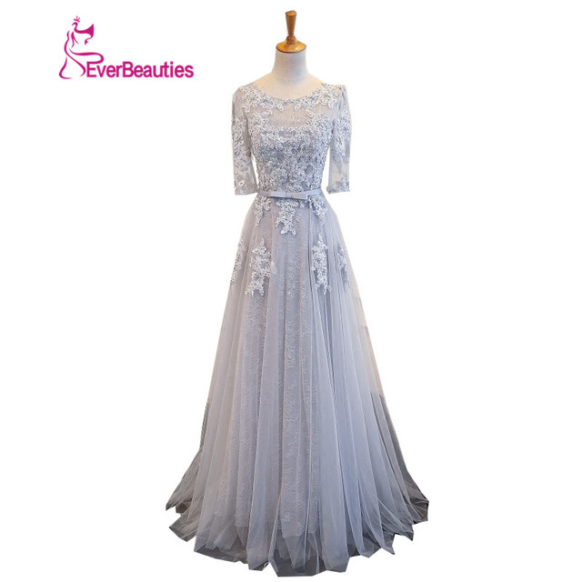 Lace Evening Dress Half Sleeves 2018Tulle Appliqued Hand Make Prom ...