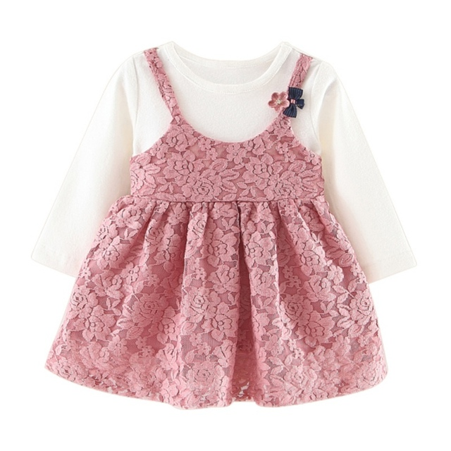 Baby clothing long sleeve newborn baby girl dress cute patchwork baby birthday dress infant girl dresses