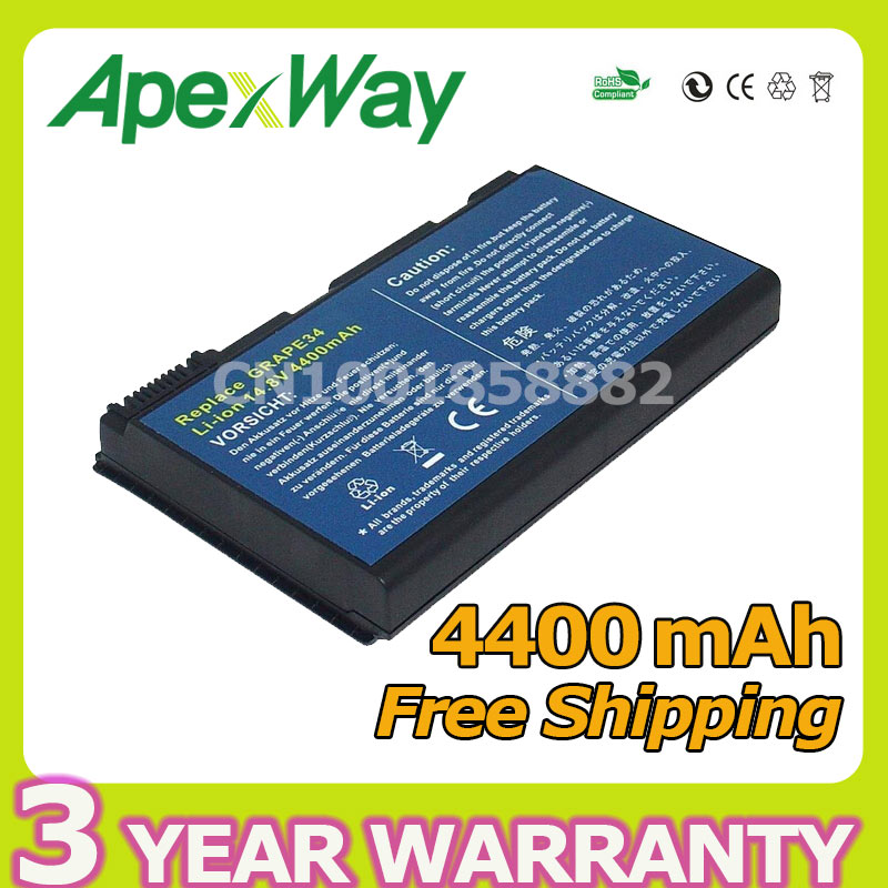 Apexway 4400mAh 14.4V Laptop <font><b>Battery</b></font> for <font><b>Acer</b></font> Travelmate 5320 5520 5720 7720 Extensa <font><b>5210</b></font> 5220 5620 Series BT.00603.029 GRAPE32 image