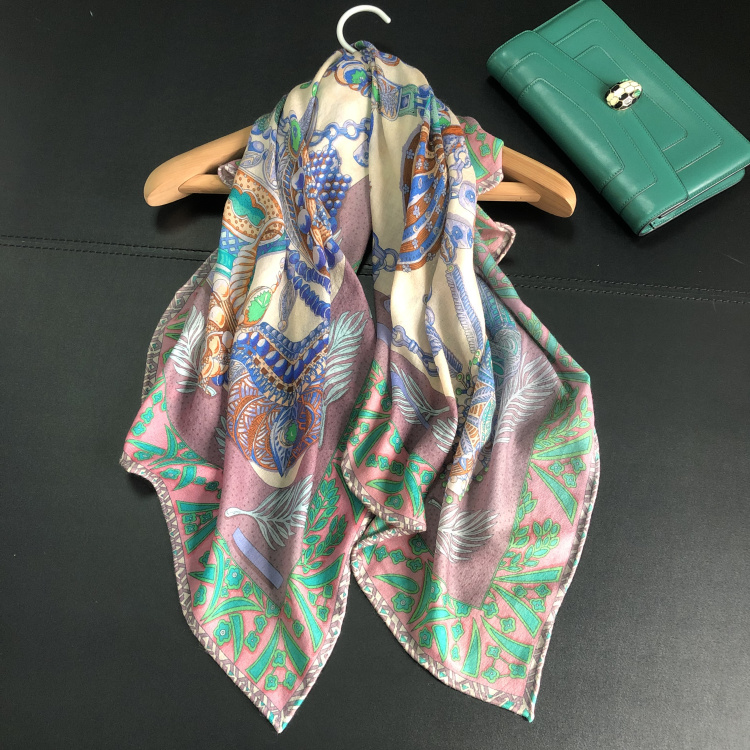 2019 New Women Scarf 300s Pure Cashmere Green Floral Female Spring Soft Warm Shawls Wraps Handmade Hemming 90*90cm