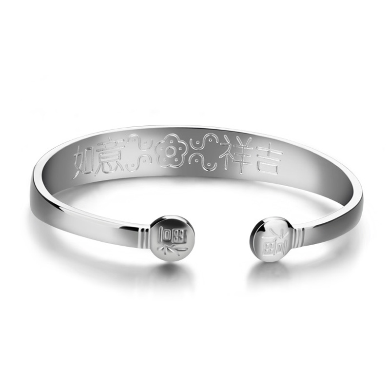 Simple smooth silver bracelet.Solid 925 silver fashion women bracelet.Charming lady bracelet.Jewelry wholesale Chinese style