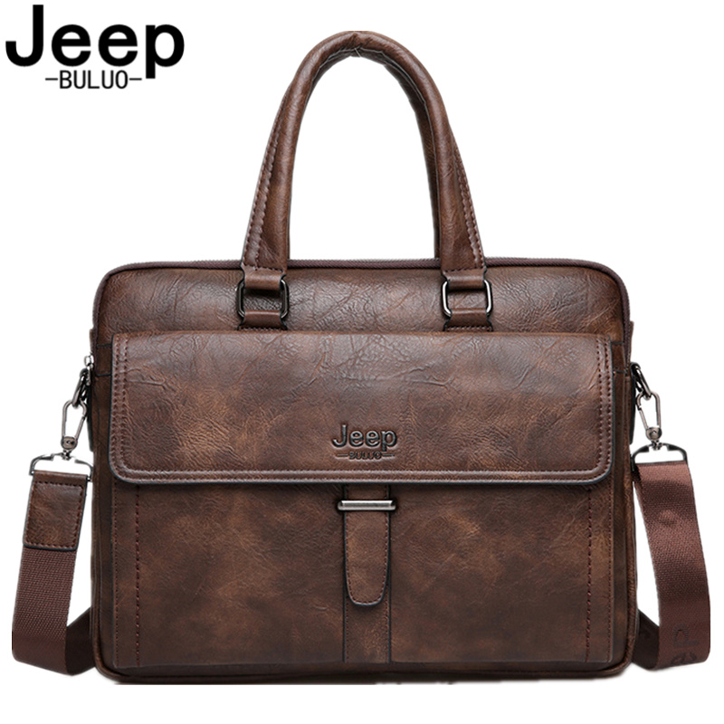 JEEP BULUO Men Tote Casual Briefcase Handbag High Quality Messenger Bags Business Shoulder Bag Brown Leather 14