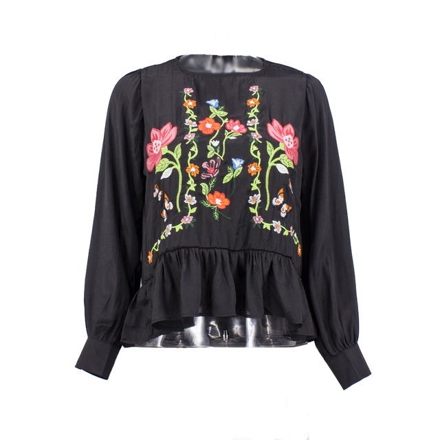 2017 spring ladies long-sleeved blouse embroidered flowers bottoming shirt ruffles hem female