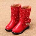 2016 winter children cotton boots high-top lace bow princess girls cotton velvet keep warm boots kids safty quality snow boots