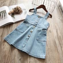 DFXD Kids Dresses 2018 New Summer Fashion Sleeveless Square Collar Denim Blue Strap Dress Children Clothes Baby Jeans 2-8Y