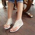 Shoes woman 2017 Summer shoes flat sandals women Bohemia Handmade Beaded Flats Female Sandals Pu leather Flat Sandals