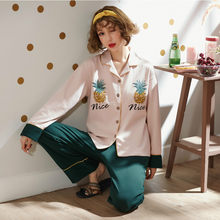 dfaba55a62 QoerliN 100% Cotton Autumn Pineapple Print Pajamas Set Women Winter Home  Sleepwear Loose Casual Long Sleeve Tops Bandage Trouser