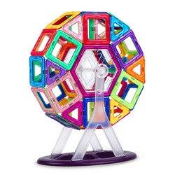 46 Uds. Bloques de construcción magnéticos de gran tamaño noria de diseño de ladrillos iluminados juguetes magnéticos regalo de cumpleaños para niños