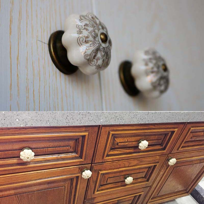 4pcs European Style Drawer Cabinet Cupboard Door Pull Knob for Furniture Handware Retro Ceramic Handle 128mm retro rural ceramic furniture handle bronze dresser kitchen cabinet door handle pull 16mm antique brass drawer knob 5