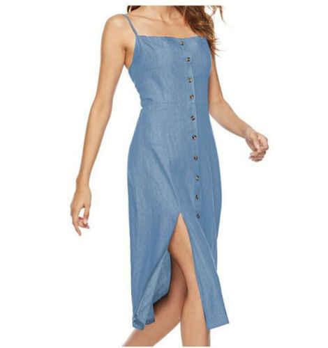 Женское длинное летнее джинсовое платье без рукавов, повседневный свободный Сарафан
