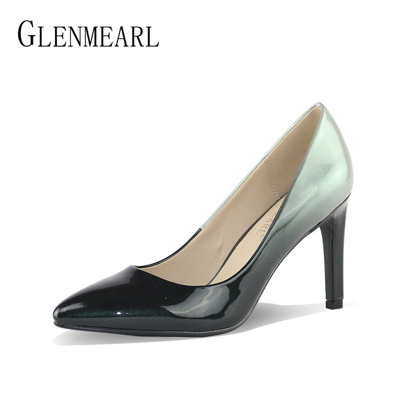 Women High Heels Shoes Patent Leather Pumps Pointed Toe Luxury Brand Dress Shoes Woman Heel Pumps Plus Size Ladies court shoesDO цена