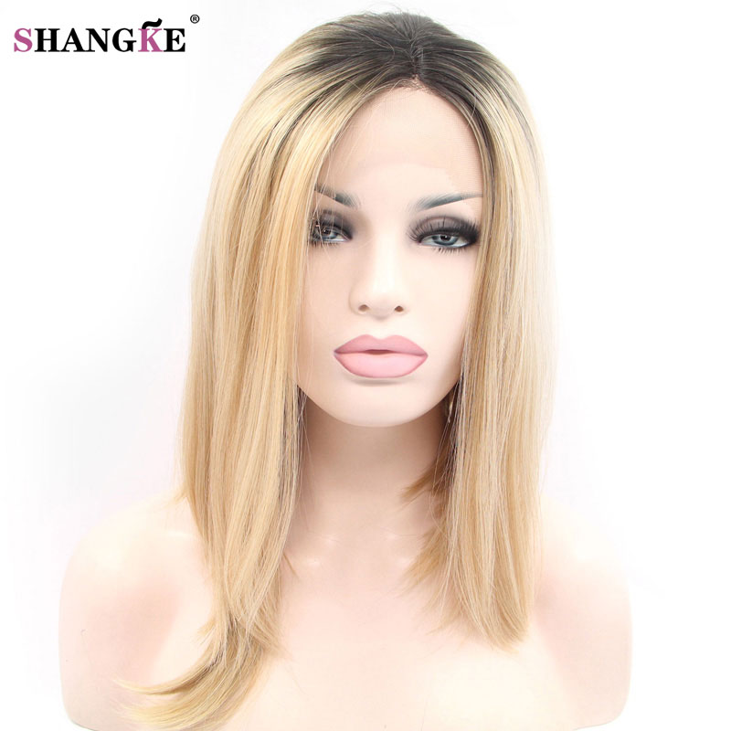SHANGKE HAIR Short Ombre Blonde Bob Hair Wig Heat Resistant Lace Front Synthetic Wigs For Black White Women Wigs Blonde Wig