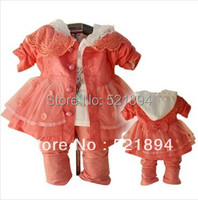 Free Shipping New 2014 Spring Girls Lace Bow Dress Clothing Set Infant Spring Autumn Dress Kids