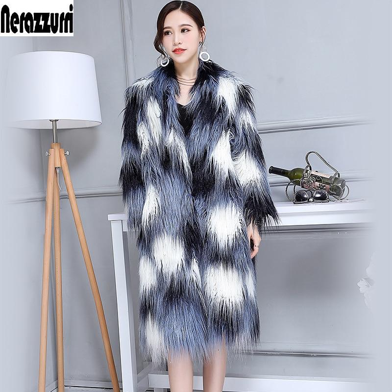 Winter Faux Fur Coat Women V-Neck Long Shaggy Fluffy Colorful Female Lamb fur Fake Mongolian Sheep Fur Jacket Plus Size 6xl 7xl