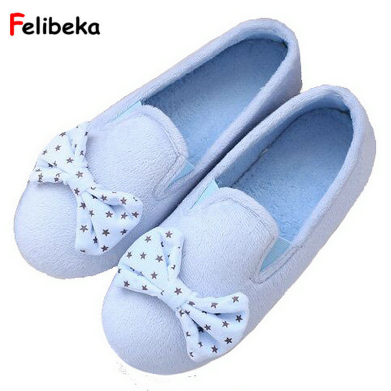 winter solid color plush small bow indoor home shoes with shoes warm woolen fresh floor shoes slippers woolen monster house shoes slippers color assorted pair