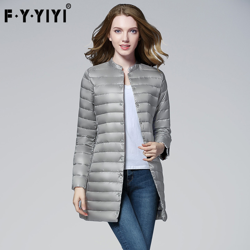 FYYIYI 2018 Slim Thin Autumn Winter New Long Down Jacket Female Spring Round Neck Coat Fashion Warm 90% White Duck Down