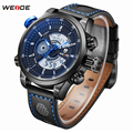 Top Luxury Brand WEIDE Men Fashion Casual Quartz Analog Digital LED Watch Stainless Steel Watches Men Leather Strap Wrist Watch