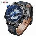 Top de luxo da marca weide homens moda casual quartz analógico digital led relógio de aço inoxidável relógios homens leather strap relógio de pulso