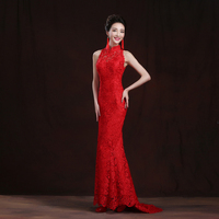 Free Shipping 2016 Red Lace Trailing Evening Dress Chinese Bride Wedding Qipao Long Cheongsams Traditional Qi Pao Vestidos