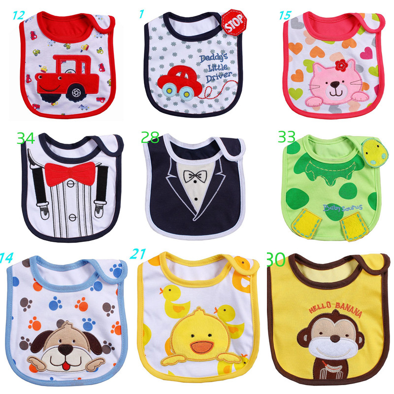 Cotton Baby Bib Infant Saliva Towels Baby Waterproof Bibs Newborn Wear Cartoon Accessories 2 layers newborn cartoon colorful baby boy girl bibs infant soft cotton toddler animal burp cloth waterproof saliva scarf towel