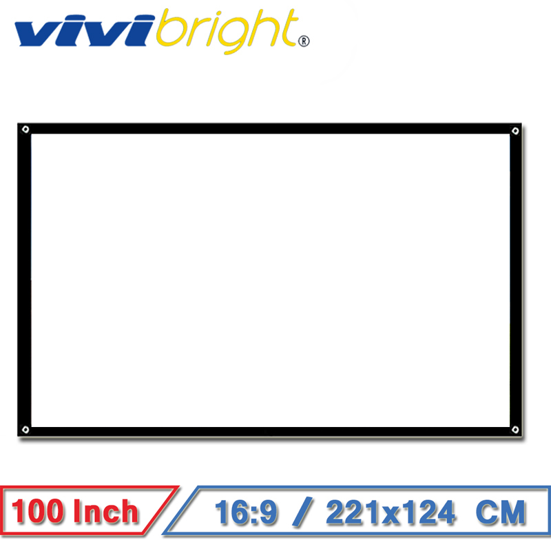 VIVIBRIGHT 100 inch 16:9 Portable Projector Screen, Matt White Screen for Home theater, Travel. Support LED Projector VIVIBRIGHT 100 inch 16:9 Portable Projector Screen, Matt White Screen for Home theater, Travel. Support LED Projector