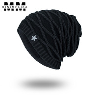 5 Color Fashion Knit Striped Hat Winter Thickening Warm White Five Star Pattern Men Women Outdoor