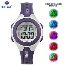 Синьцзя 2018 Новый цифровой светодиодный спортивные женские часы 30 м водонепроницаемый смолы Run утренняя зарядка красочный экран электронные часы