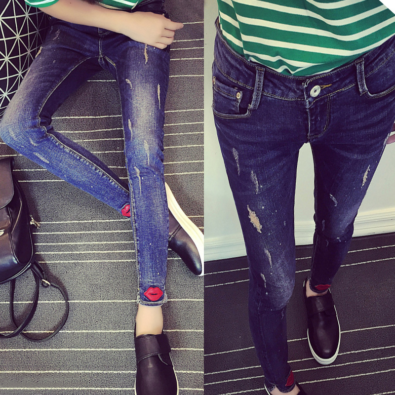 wangcangli 2017 spring of the new large size jeans women in high-waist stretch Slim straight casual lips feet pants wholesale alfani new deep black stretch waist women s size large l casual pants $89