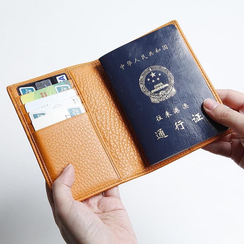 EMMA YAO 여성용 가죽 여권 커버 수제 지갑 지갑 유명 브랜드 여권 케이스