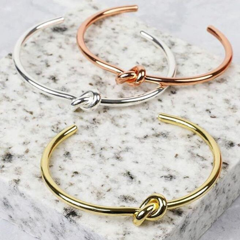 Mavis Hare High Quality Knot Bracelet Stainless Steel Bangle with silver/gold/rose gold color for women as Gift