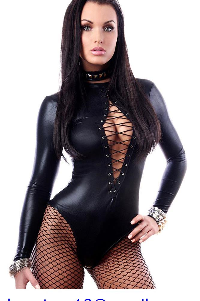 Sexy Black Wet Look Long Sleeve Bodysuit LC3263 Women Black Leather Bodysuits Erotic Latex Catsuit Cat women Costume