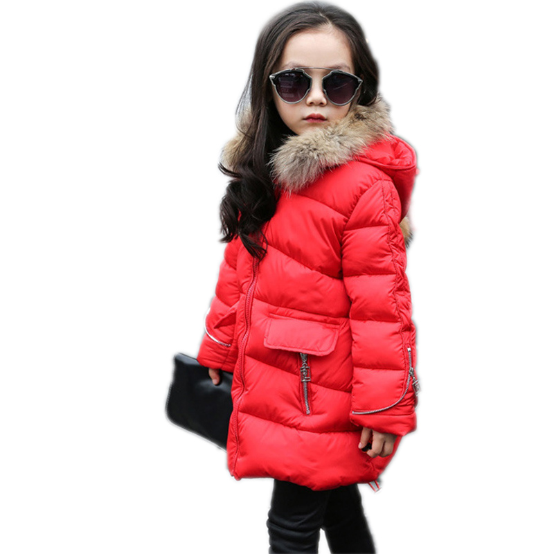 children winter jackets for girls 2016 new winter solid medium long girl down jackets thicken warm hooded girl parka down 5-13T a15 girls jackets winter 2017 long warm duck down jacket for girl children outerwear jacket coats big girl clothes 10 12 14 year