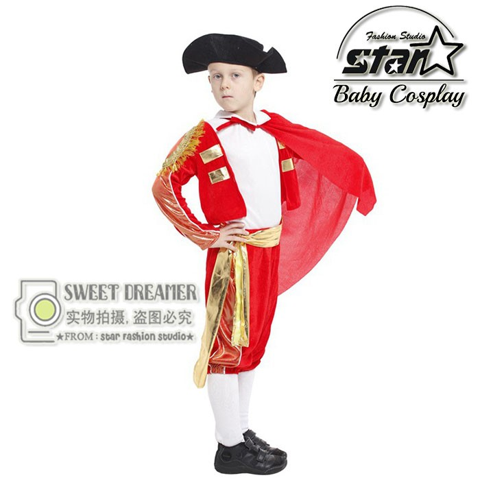Childrens Party Clothing Spanish Matador Masquerade Cosplay Clothes Halloween Costume For Kids Boys Dance Clothing Costume