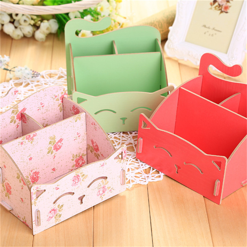 Cute Cat Storage Box Wooden For Jewelry Organizer Makeup Cosmetics Box Container Office DIY Makeup Organizer Cosmetics Storage