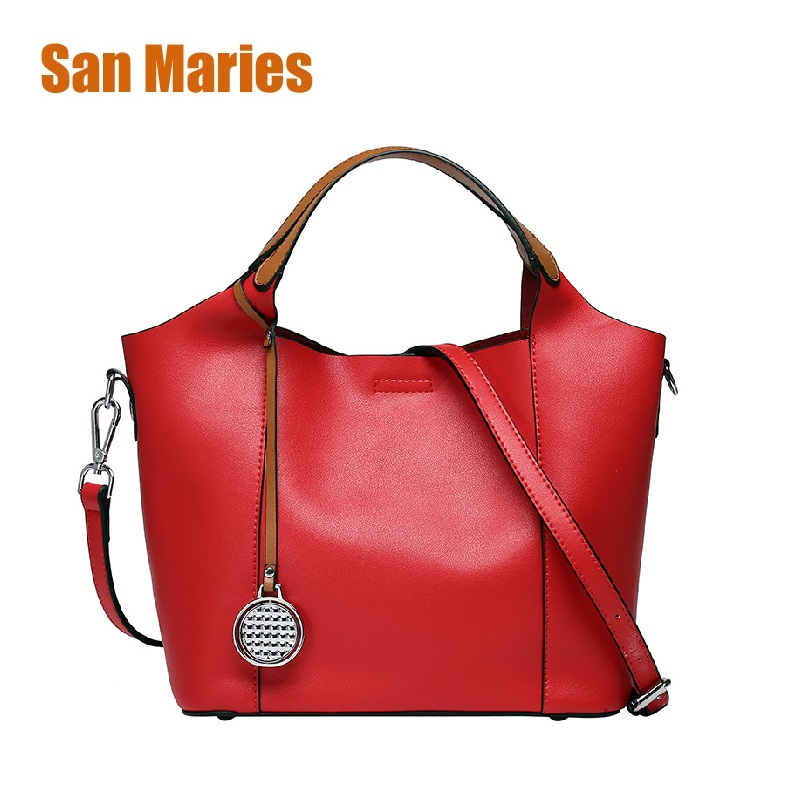 San Maries 100% LUXURY Genuine Leather Women Shoulder Bag Brand Designer Cowhide Genuine Leather Handbags 2018 Crossbody Bags san maries 100% genuine leather women handbags 2018 new arrival female korean fashion totes crossbody bag shoulder bags handbags