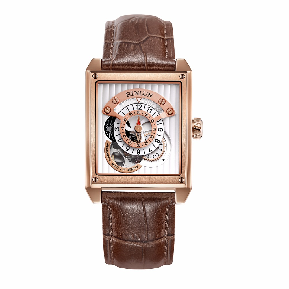BINLUN Rose Gold Men s Luxury Dress Watches Brown Leather Band Waterproof