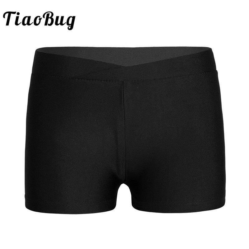 TiaoBug Girls V-front Waistband Dance Shorts Bottoms Kids Sports Workout Fitness Gymnastics Ballet Shorts For Child Dance Class