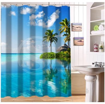 Custom Bathroom Waterproof Curtain Sea Ocean Beach Huts Palm Trees Pool Modern Shower In Curtains From Home Garden On Aliexpress